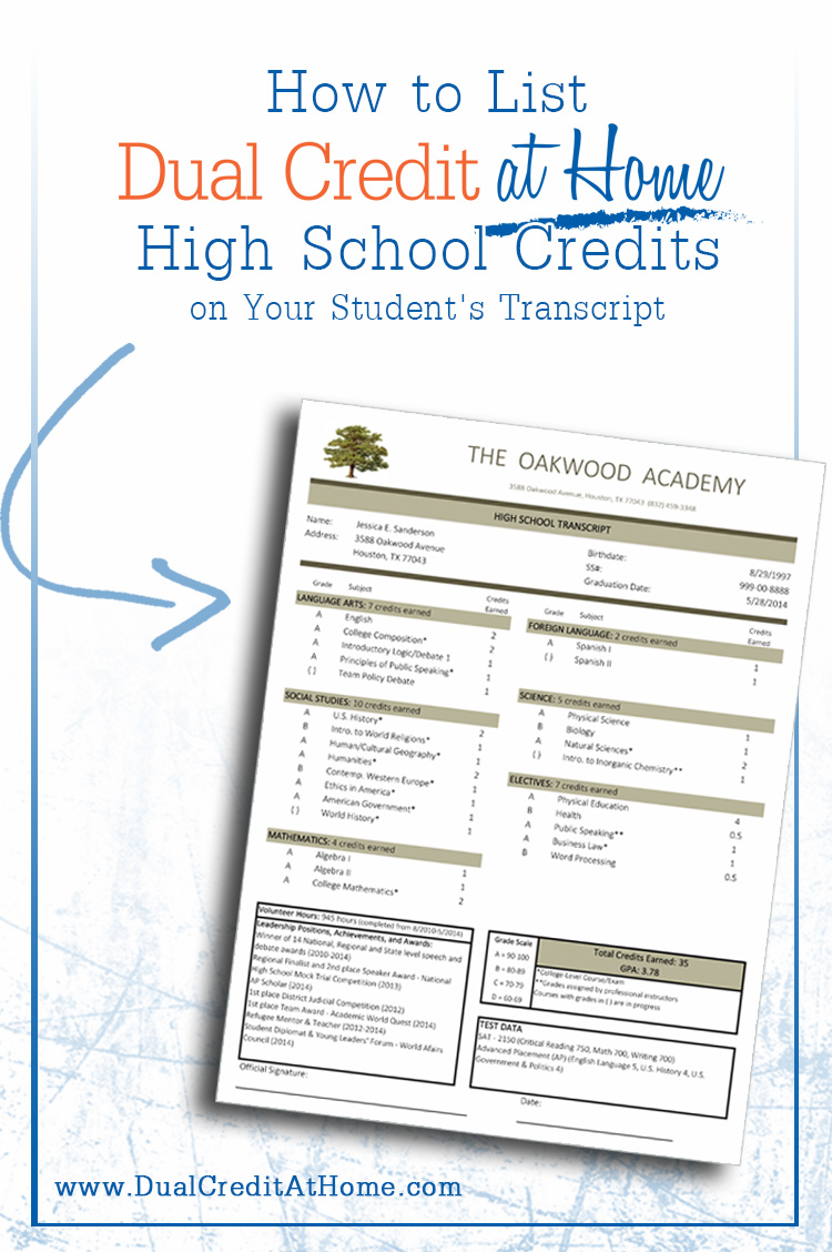 How to List Dual Credits on Your Student's Transcript